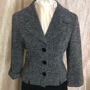 BEBE GRAY AND BLACK TWEED BLAZER